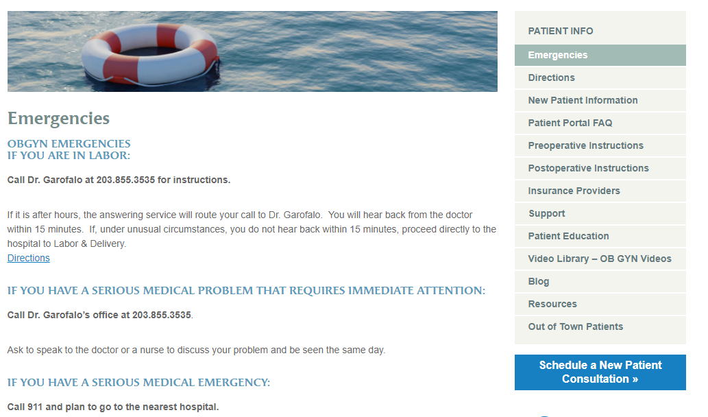 Obgyn Emergency Page Content