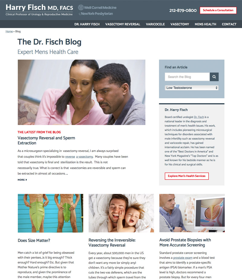Healthcare Blog Design - Dr. Harry Fisch