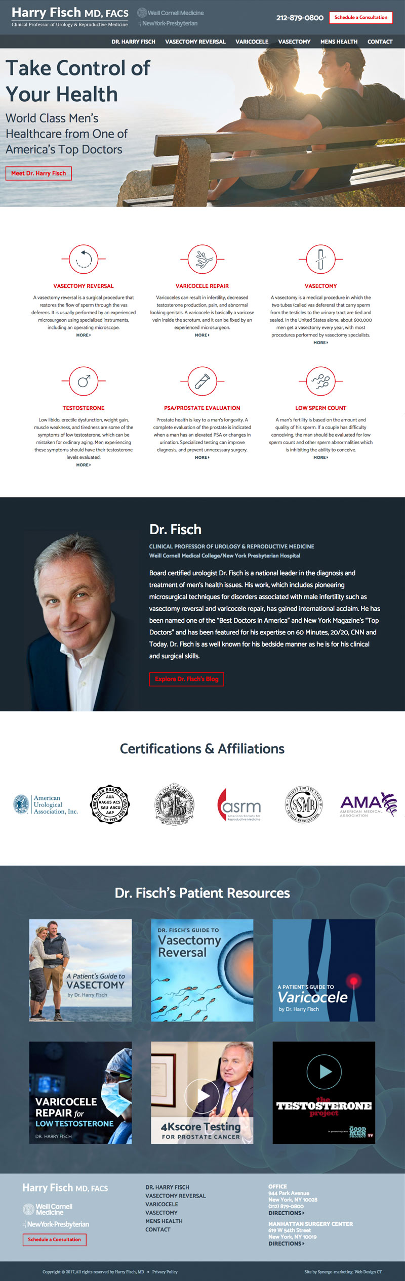 Healthcare Web Design - Dr. Harry Fisch - Home Page Design