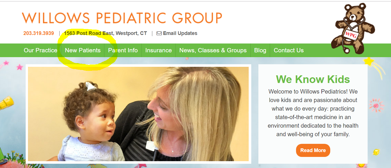 Medical Practice Website Features - New Patient Information