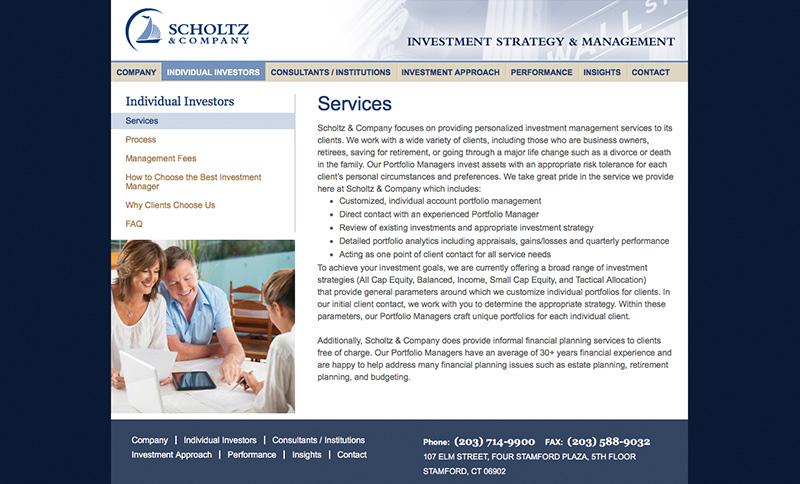 Scholtz Website Design Interior Page